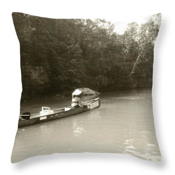 Paddling On The Current Throw Pillow by Marty Koch