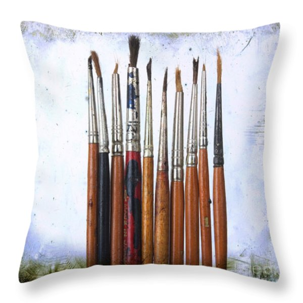 Paintbrushes Throw Pillow by Bernard Jaubert