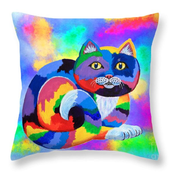 Painted Cat Throw Pillow by Nick Gustafson