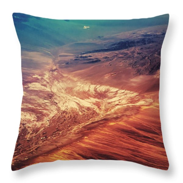 Painted Earth Throw Pillow by Jenny Rainbow