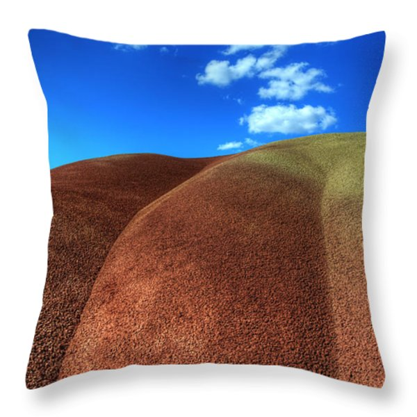 Painted Hills Blue Sky 2 Throw Pillow by Bob Christopher