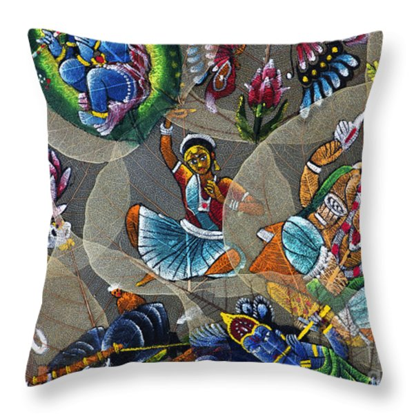 Painted Indian Bodhi Leaves Throw Pillow by Tim Gainey