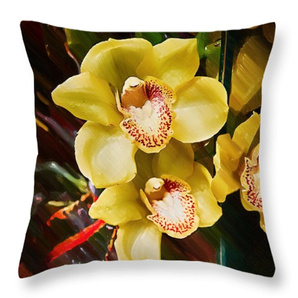 Painted Orchids Throw Pillow by John Haldane