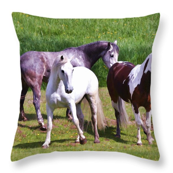 Painted Pretty Horses Throw Pillow by Athena Mckinzie