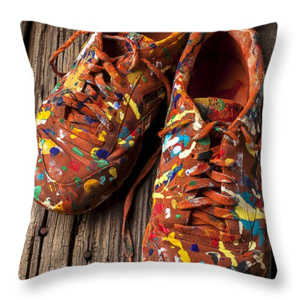 Painted Tennis Shoes Throw Pillow by Garry Gay