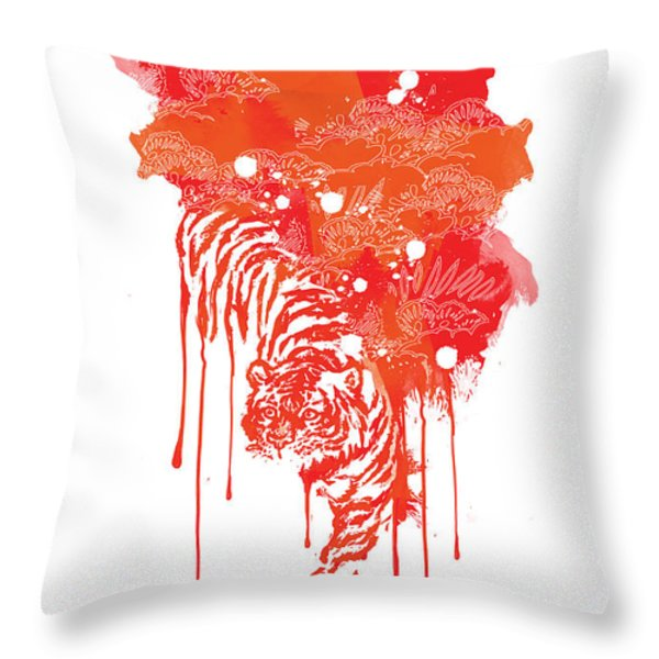 Painted tiger Throw Pillow by Budi Kwan