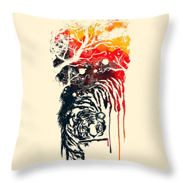 Painted Tyger Throw Pillow by Budi Kwan