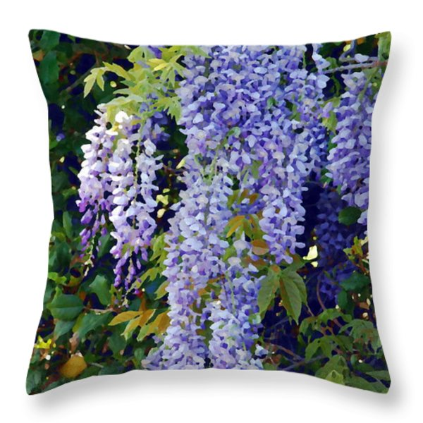 Painted Wisteria  Throw Pillow by Francie Davis