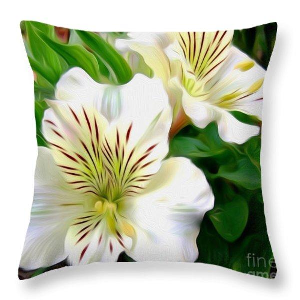 Painterly Alstroemeria Throw Pillow by Kaye Menner