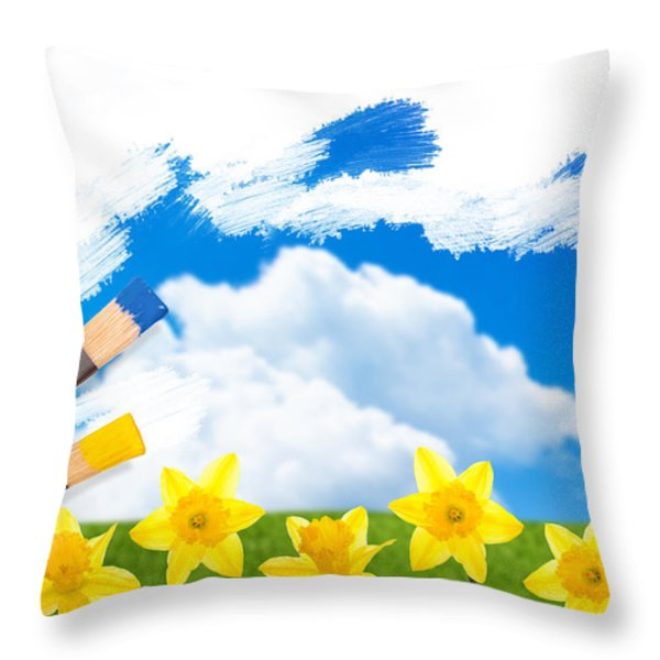 Painting Daffodils Throw Pillow by Amanda And Christopher Elwell