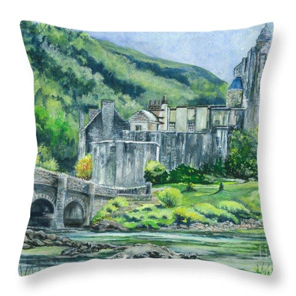 Painting Eilean Donan Medieval Castle Scotland Throw Pillow by Carol Wisniewski