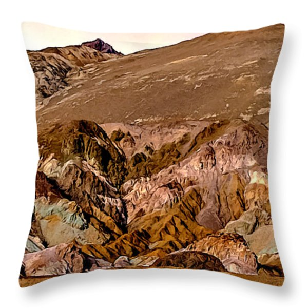 Painting Of Artists Pallete Death Valley Throw Pillow by Bob and Nadine Johnston