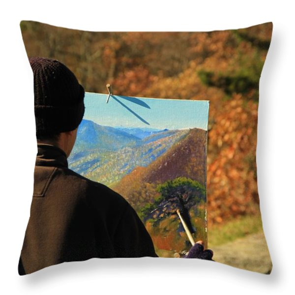 Painting Shenandoah Throw Pillow by Dan Sproul