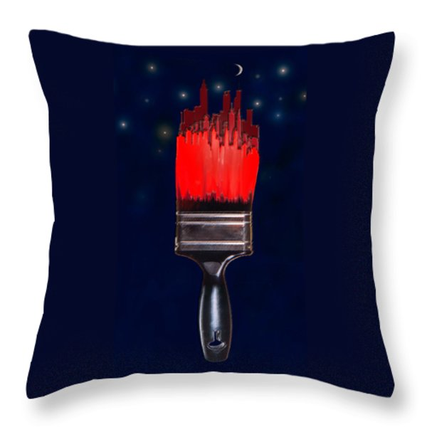 Painting The Town Red Throw Pillow by Jane Schnetlage