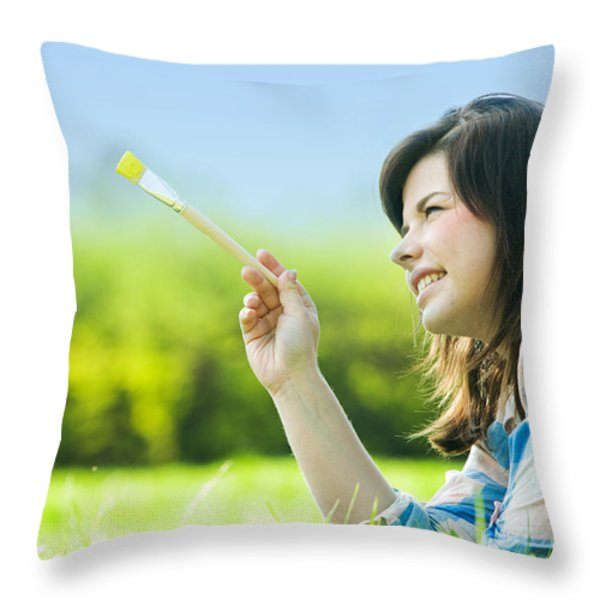 Painting The World Throw Pillow by Michal Bednarek