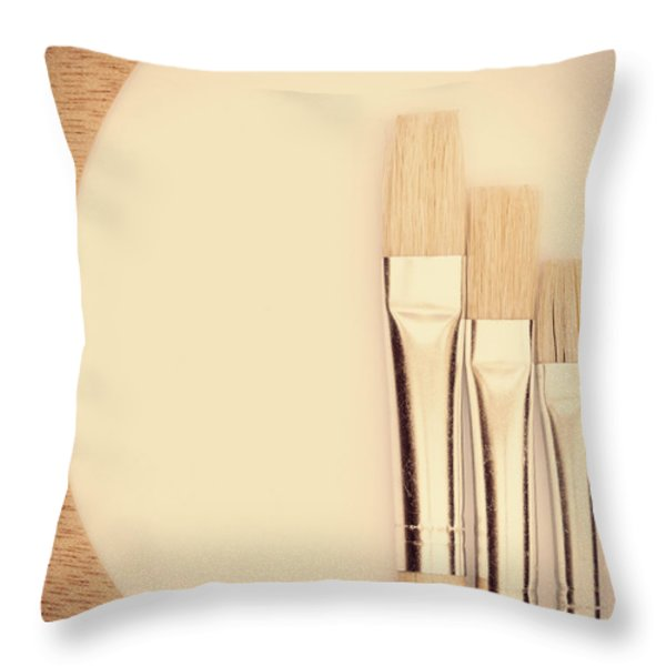 Painting Tools Throw Pillow by Wim Lanclus