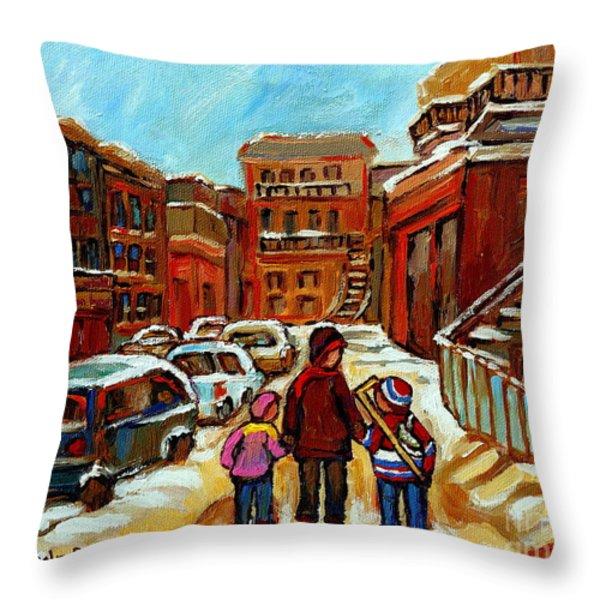 Paintings Of Baron Byng High School St Urbain A Winter Walk Down Memory Lane Montreal Art Carole  Throw Pillow by Carole Spandau