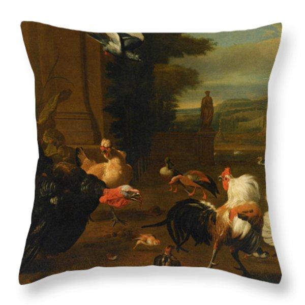 Palace Garden Exotic Birds and Farmyard Fowl Throw Pillow by Melchior de Hondecoeter