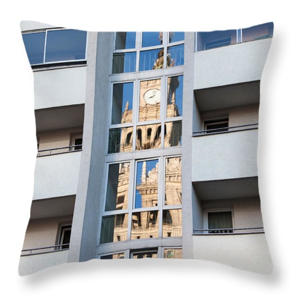 Palace of Culture and Science Abstract Reflection Throw Pillow by Artur Bogacki
