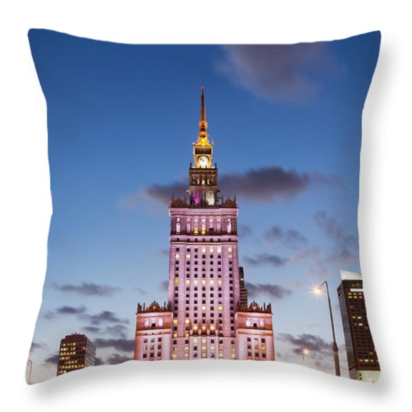Palace of Culture and Science at Dusk in Warsaw Throw Pillow by Artur Bogacki