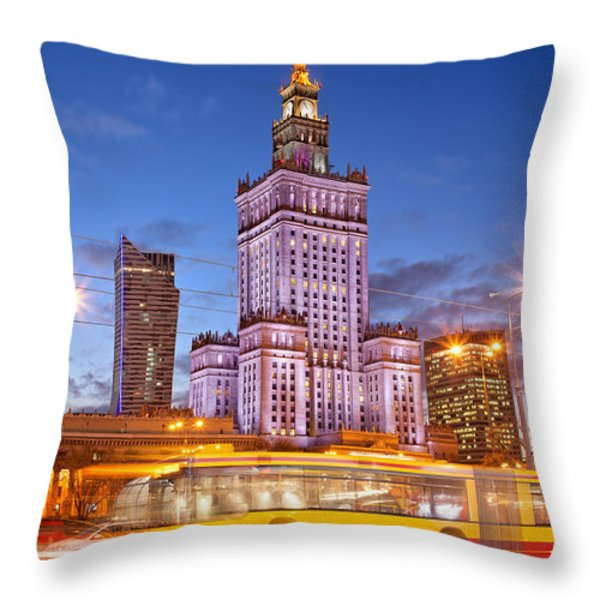 Palace of Culture and Science in Warsaw at Dusk Throw Pillow by Artur Bogacki