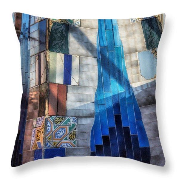 Palau Guell Throw Pillow by Joan Carroll