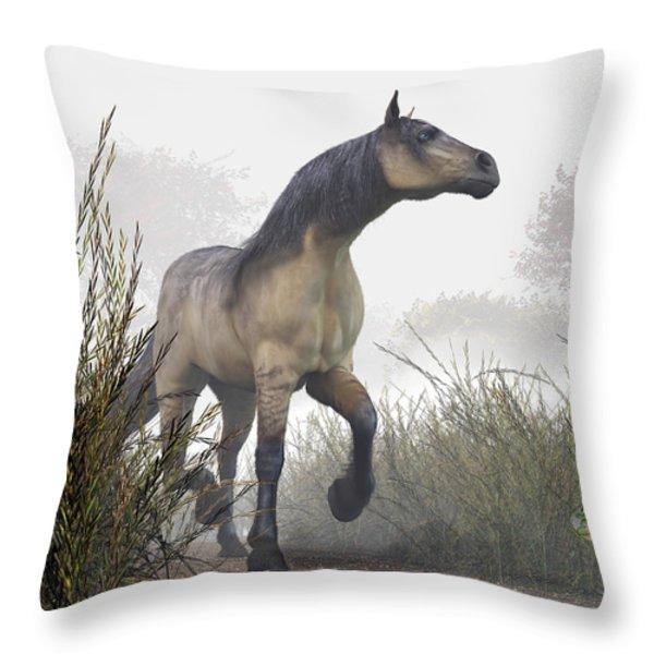 Pale Horse In The Mist Throw Pillow by Daniel Eskridge