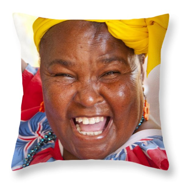 Palenquera In Cartagena Colombia Throw Pillow by David Smith