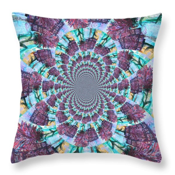 Palette Knife Flowers Kaleidoscope Mandela Throw Pillow by Genevieve Esson