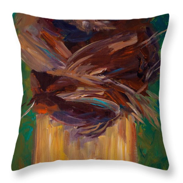 Palm Bark Throw Pillow by Paulette B Wright