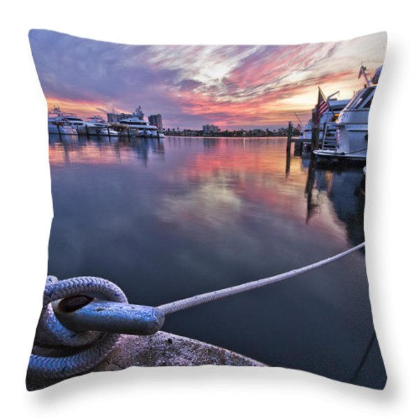 Palm Beach Harbor Throw Pillow by Debra and Dave Vanderlaan
