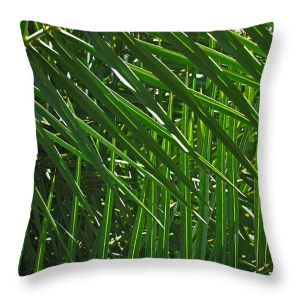 Palm Crosshatch Throw Pillow by Rona Black