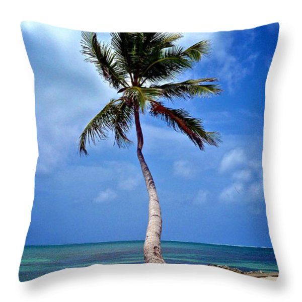 Palm Tree Swayed Throw Pillow by Kristina Deane
