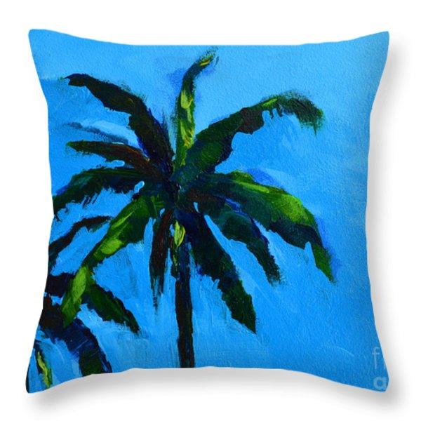 Palm Trees at Miami Beach Throw Pillow by Patricia Awapara