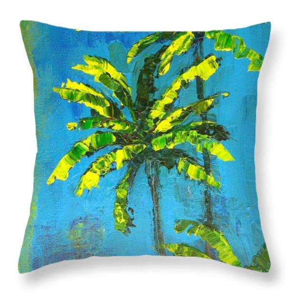 Palm Trees Throw Pillow by Patricia Awapara