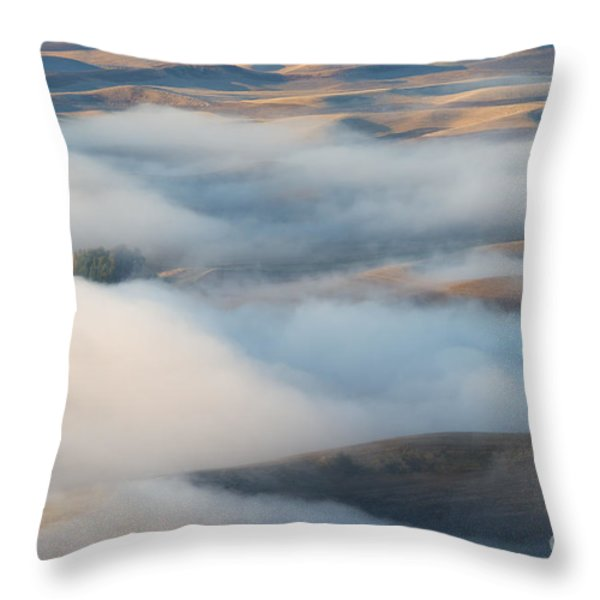 Palouse Morning Mist Throw Pillow by Mike  Dawson
