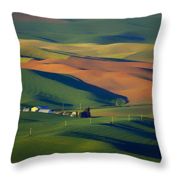 Palouse - Washington - Farms - #1 Throw Pillow by Nikolyn McDonald