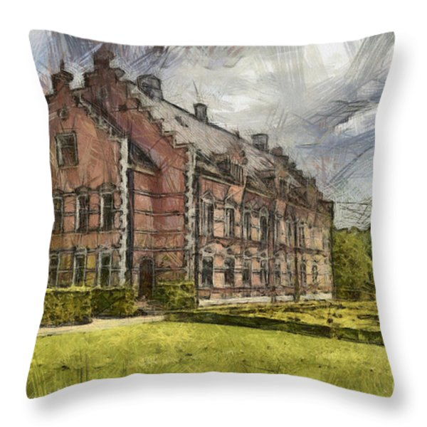 Palsjo Slott Sketch Throw Pillow by Antony McAulay