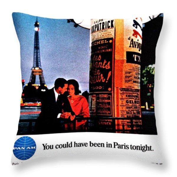Pan Am To Paris Throw Pillow by Benjamin Yeager