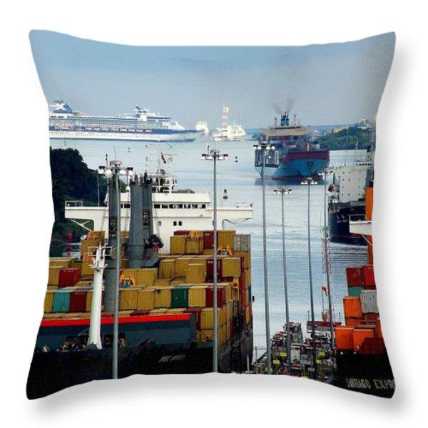 PANAMA EXPRESS Throw Pillow by KAREN WILES