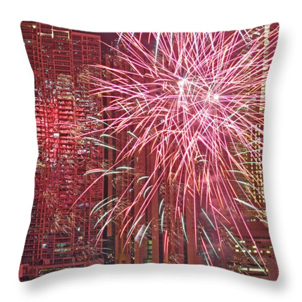 Panama Fireworks Throw Pillow by Bob Hislop