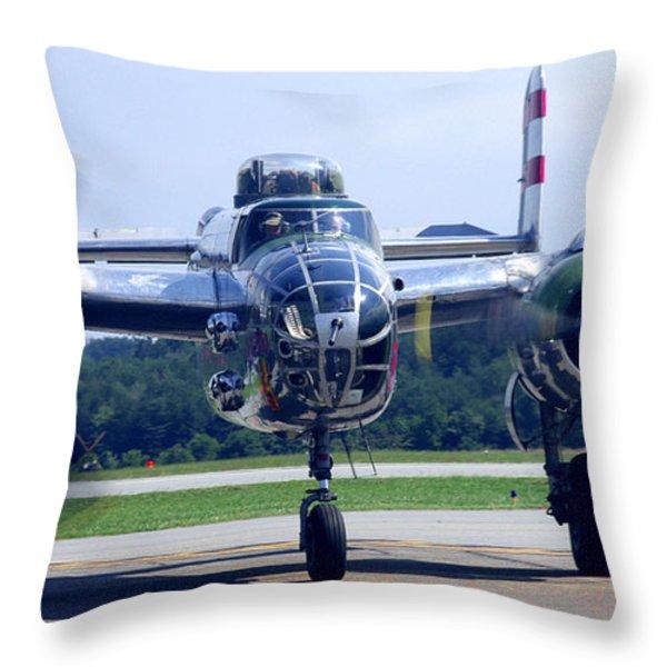 Panchito B 25 J Warbird Throw Pillow by James C Thomas