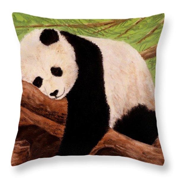 Panda Throw Pillow by Anastasiya Malakhova