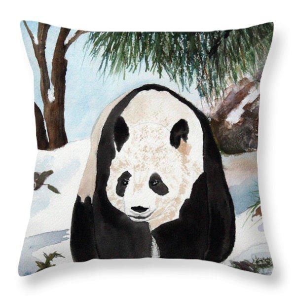 Panda On Ice Throw Pillow by Patricia Novack