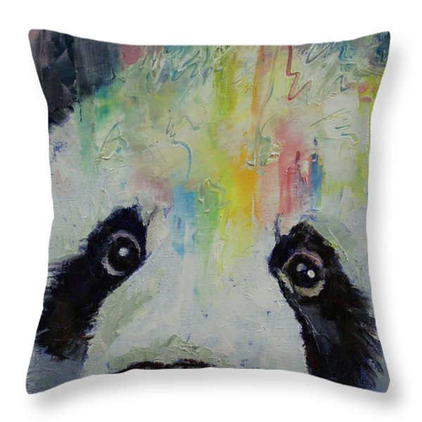 Panda Rainbow Throw Pillow by Michael Creese