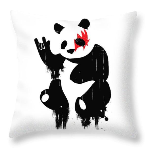 Panda Rocks Throw Pillow by Budi Satria Kwan