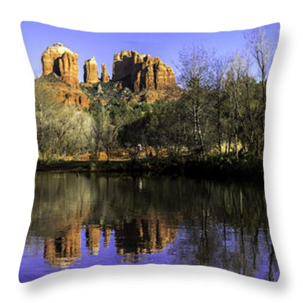 Panorama at Red Rocks Crossing in Sedona AZ Throw Pillow by Teri Virbickis