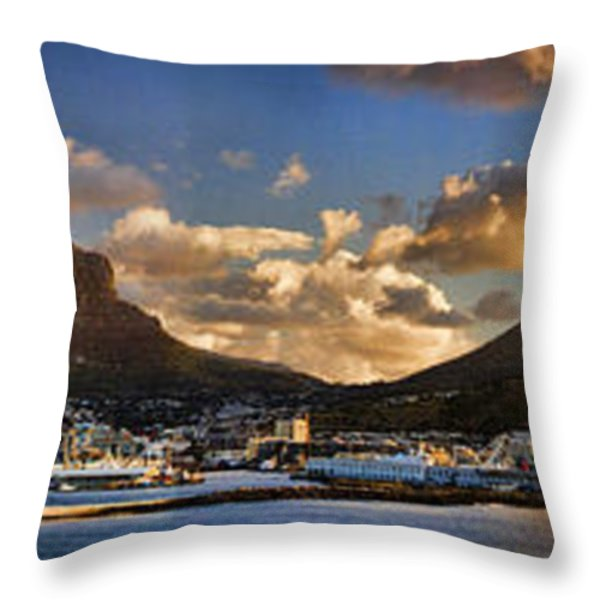 Panorama Cape Town Harbour at Sunset Throw Pillow by David Smith