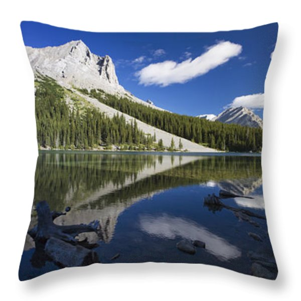 Panorama Of A Mountains Reflecting On A Throw Pillow by Michael Interisano