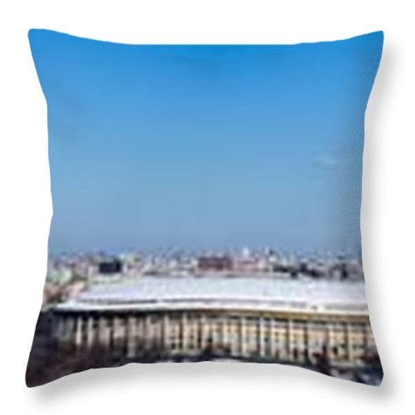 Panorama Of Moscow From Sparrow Hills - Featured 3 Throw Pillow by Alexander Senin
